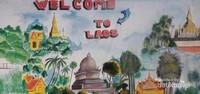 Lukisan dinding yang menggambarkan Icon-icon kota Vientiane.