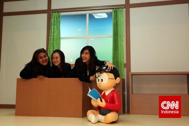 Jika Anda juga penasaran mengetahui bagaimana rasanya tinggal di perfektur tempat Nobita tinggal, expo ini adalah tempat yang tepat. (CNN Indonesia/Adhi Wicaksono)
