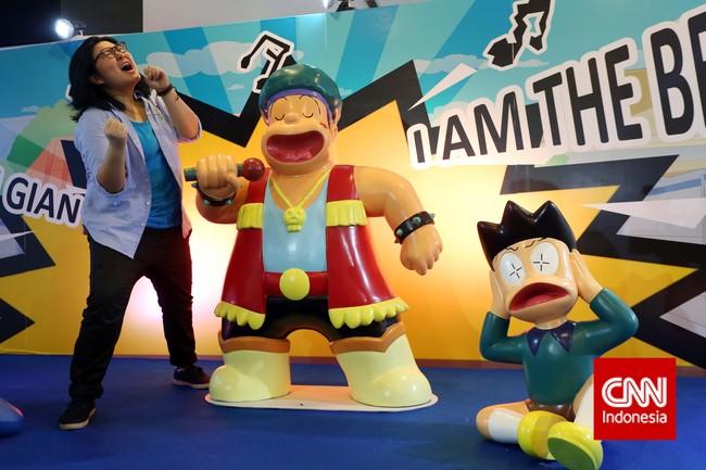 Sebelum sampai ke Indonesia, pesta serba Doraemon itu sebelumnya telah diadakan di berbagai negara. Di tiga kota di Taiwan, pengunjungnya sekitar 1,5 juta orang. (CNN Indonesia/Adhi Wicaksono)