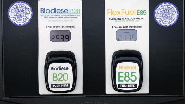 B20 merupakan bahan bakar campuran 20 persen biodiesel dengan 80 persen petrodiesel, sedangkan E85 merupakan15 persen bensin dan 85 persen etanol. (Mike Blake).