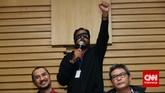 Koordinator KontraS Haris Azhar menyampaikan pesan saat audiensi di Kantor Komisi Pemberantasan Korupsi (KPK), Jakarta, Kamis(15/1).(CNN Indonesia/Safir Makki)