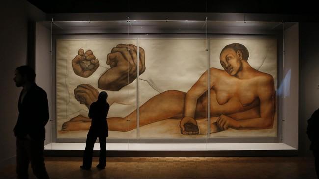 Diego Rivera dikenal sebagai seniman mural atau muralis. Karyanya menghiasi ruang publik di Meksiko, Chapingo, Cuernavaca, San Francisco, Detroit, dan New York. Salah satunya dipamerkan di DIA, Michigan (15/3-12/7). (REUTERS/Rebecca Cook)