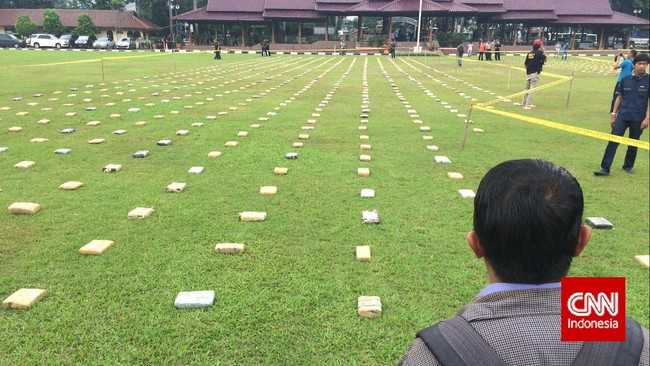 Sebanyak 2,1 ton ganja 'dipamerkan' Direktorat Tindak Pidana Narkoba Badan Reserse Kriminal di Lapangan Bhayangkara Mabes Polri, Jakarta, Senin (11/5). Ganja-ganja ini merupakan hasil sitaan polisi dalam empat kali operasi selama tiga bulan terakhir. (CNN Indonesia/Abraham Utama)