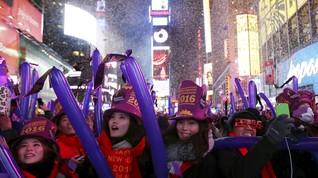 Sejuta Orang Rayakan Tahun Baru di Times Square, New York