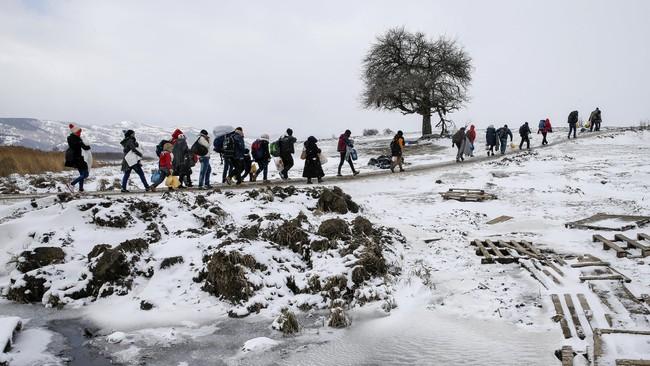 Sekitar 1.000 pengungsi dari Suriah, Afghanistan dan Irak tiba di Presevo, Serbia, setiap harinya. (Reuters/Marko Djurica)