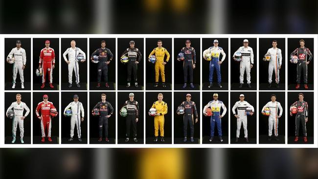 Rio Haryanto (bawah - kedua dari kanan) akan bersaing dengan 21 pebalap kelas dunia dalam ajang balap F1 musim 2016. Ia akan membalap untuk tim Manor Racing dan bermitra dengan pebalap Jerman, Pascal Wehrlein (atas - kedua dari kanan). (REUTERS/Brandon Malone)