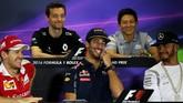 Rio Haryanto terlihat tertawa lepas menikmati suasana tawa canda bersama lima pebalap kelas dunia seperti Sebastian Vettel, Daniel Ricciardo, dan Lewis Hamilton dalam jumpa pers tersebut. (Getty Images/Lars Baron)