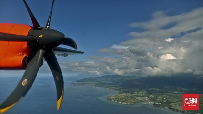 Pulau Flores tampak dari udara dalam penerbangan menuju Larantuka yang dapat ditempuh selama 50 menit menggunakan pesawat komersil dari Kupang. (CNN Indonesia/Adhi Wicaksono)