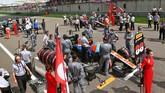 Mobil Rio Haryanto sebelum memulai balapan. Ia mendapatkan posisi ke-20 di sesi kualifikasi, dan berada di depan Wehrlein dan Hamilton di grid. (Dok. Manor Grand Prix Racing Ltd)