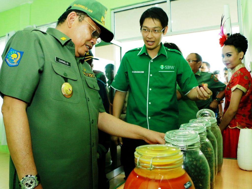 Gubernur Kalimantan Barat Cornelis mendapat penjelasan mengenai pengolahan dari Tandan Buah Segar (TBS) menjadi Crude Palm Oil (CPO). Ist/SBW.