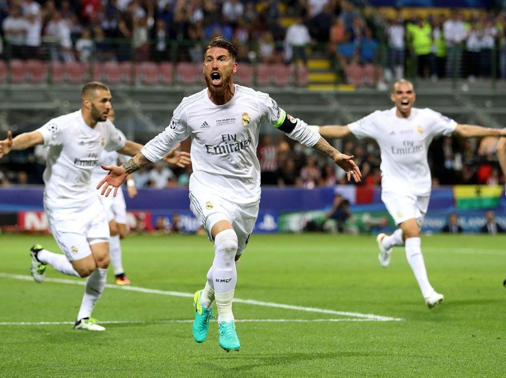 Pada pertandingan yang berlangsung di Stadion San Siro, Milan, Minggu (29/5/2016) dini hari WIB, Madrid unggul 1-0 lewat Sergio Ramos. Carl Recine/Reuters/detikFoto.