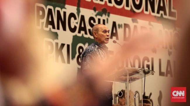 Simposium Nasional 'Mengamankan Pancasila dari Kebangkitan PKI dan Ideologi Lain' digagas Gerakan Bela Negara, sejumlah ormas Islam, berbagai organisasi purnawirawan TNI-Polri, dan beberapa unsur kepemudaan. (CNN Indonesia/Andry Novelino)