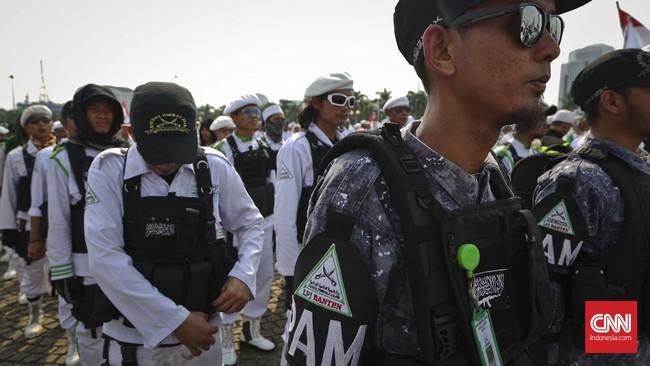 Sebanyak 3.442 personel diturunkan guna mengamankan aksi tersebut di Balai Kota, Monas dan beberapa tempat lain.(CNN Indonesia/Adhi Wicaksono).