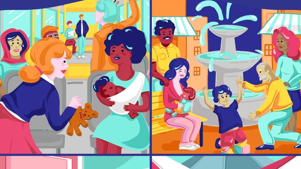 Gambar-gambar Dukungan Menyusui Kapan Saja dan di Mana Saja Bagi Para Ibu
