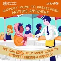 Tanggal 1-7 Agustus 2016 merupakan Pekan Menyusui Sedunia. Sebagai bentuk dukungan, Badan Kesehatan Dunia (WHO) mendorong masyarakat untuk 'mendukung para ibu menyusui kapan saja dan di mana saja'. (Foto: WHO)