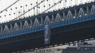 Spanduk Raksasa Vladimir Putin Tiba-tiba Muncul di New York