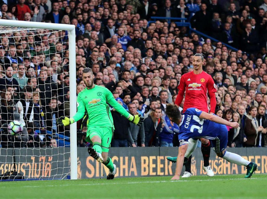Gary Cahill membobol gawang MU di menit ke-21. Eddie Keogh/Reuters/detikFoto.