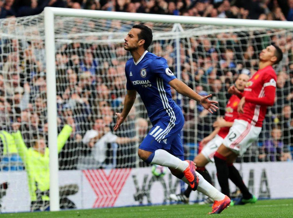 Pedro merayakan gol yang dicetak di menit ke-1. Eddie Keogh/Reuters/detikFoto.