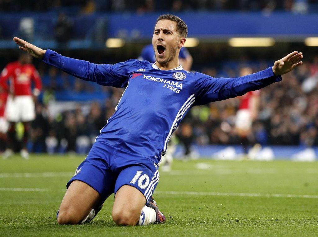 Eden Hazard merayakan gol yang dicetaknya di menit ke-62. John Sibley/Reuters/detikFoto.
