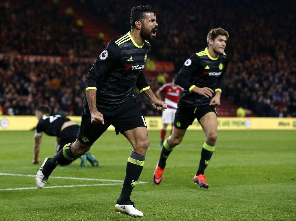 Diego Costa merayakan gol yang dicetak di menit ke-41 dalam pertandingan yang dihelat di Stadion Riverside, Minggu (20/11/2016) malam. Andrew Yates/Reuters/detikFoto.