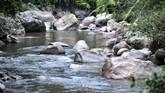 Aliran Sungai Batang Sumpur Lubuk Tasapik, Nagari Sisawah, menyimpan kekayaan emas yang menjadi daya tarik warga, Rabu (15/2). (ANTARA FOTO/Iggoy el Fitra)
