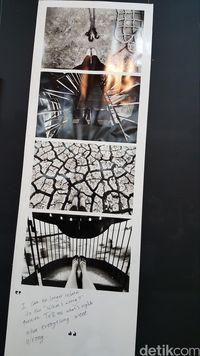 Selain pameran lukisan, ada beberapa foto juga yang turut dipamerkan. Salah satunya berjudul 'Gamang' karya Adji Sasmita. Di bawah karyanya dia menulis 'I can no longer relate to the 'what's wrong?' question. Tell me what's right when everything went wrong'. (Foto: Nurvita Indarini/detikHealth)