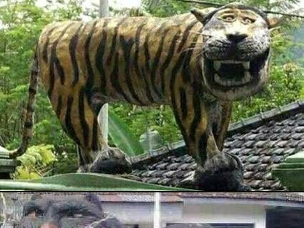 Macan Cisewu pun ramai jadi ilustrasi lucu. Foto: Dokumentasi: Pembongkaran patung macan Koramil 1123 Cisewu.