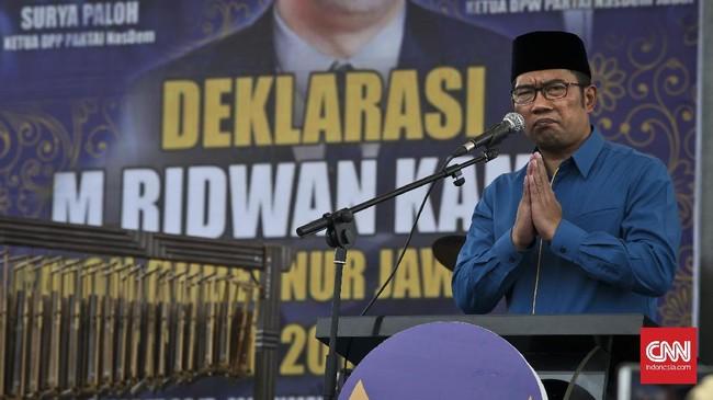 Ketua Umum Partai NasDem Surya Paloh menilai Ridwan Kamil berpotensi menjadi wakil Presiden Joko Widodo pada pemilihan presiden tahun 2019. (CNN Indonesia/Adhi Wicaksono)