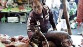 Suplai daging hewan ini tidak hanya dari Manado saja tetapi juga dari Palu dan Gorontalo. Stok daging babi hutan dan anjing kabarnya didatangkan dari kedua kota tersebut. (AFP PHOTO / Bay ISMOYO)