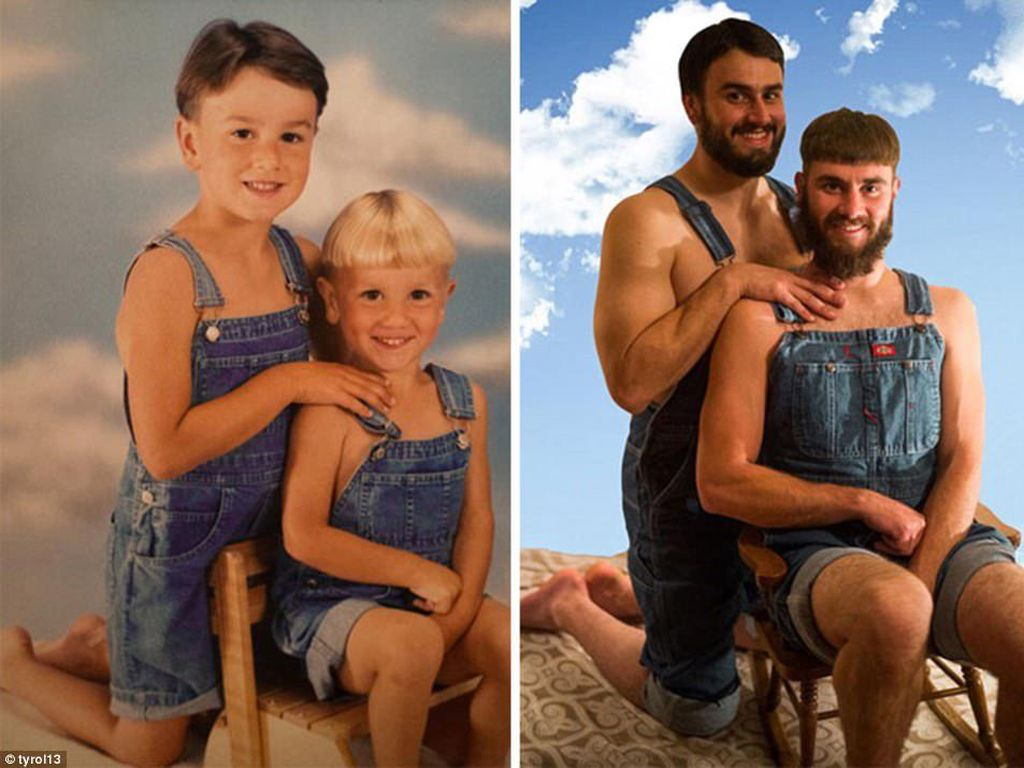 Dua bersaudara lai-laki ini duulu tampak imut dan lucu dengan baju denim, ketika dewasa meski sudah memilki jenggot lebat mereka tak malu mengenakan model baju yang sama untuk dipotret ulang. (Foto: Internet)