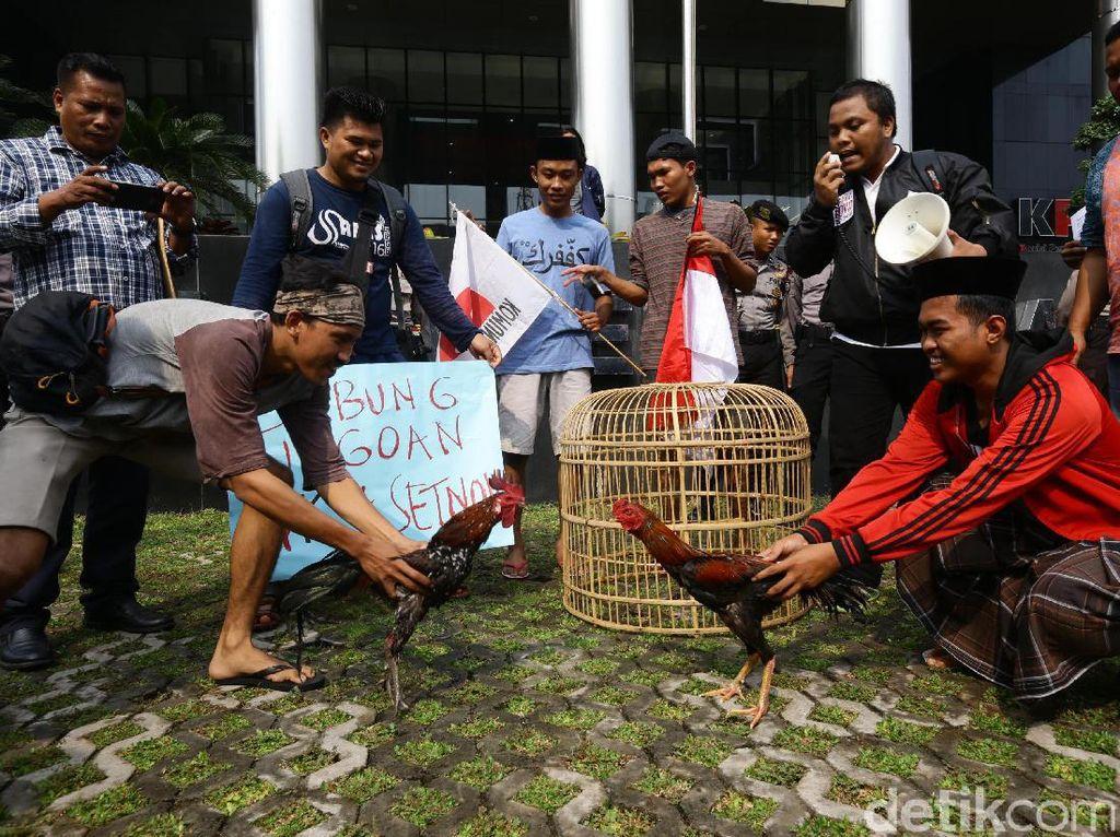 Ayam jago KPK dan ayam jago Setnov diadu di depan gedung KPK, Jumat (21/4/2017).