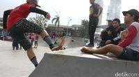 Salah satu fasilitas RPTRA Kalijodo yang terkenal adalah ramp khusus untuk para penggemar skateboard atau sepeda BMX. (Foto: Firdaus Anwar/detikHealth)