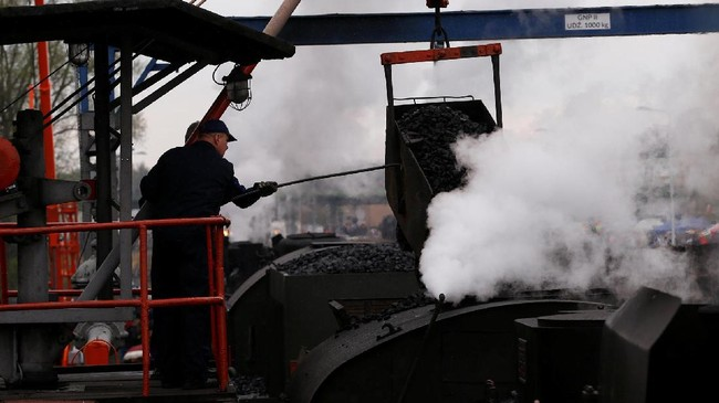 Sementara, untuk menghidupkannya, pekerja tampak menempatkan batubara ke dalam lokomotif. (REUTERS/Kacper Pempel)