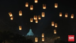 Ribuan Lampion Terangi Langit Borobudur Tutup Perayaan Waisak