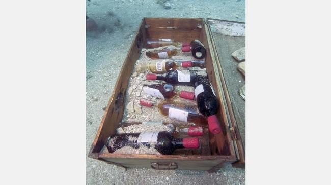 Eksperimen penyimpanan wine dalam laut ini digunakan untuk menilai efek pematangan wine ketika disimpan di bawah laut selama setahun penuh. (AFP PHOTO / Boris HORVAT)