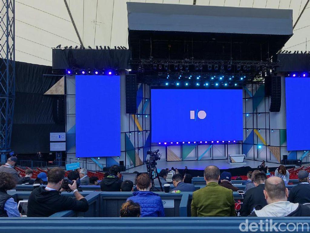 Suasana jelang acara yang dimulai pada pukul 10.00 pagi waktu Mountain View, California, Amerika Serikat. Foto: rns/detikINET