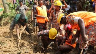 Belasan Orang Meninggal Tertimbun Longsor di Myanmar