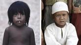 Foto perbandingan anak Orang Rimba yang sudah masuk Islam (kanan) dengan anak yang belum masuk Islam (kiri). Di Indonesia sendiri saat ini terdapat sekitar 70 juta jiwa anggota suku pedalaman. (AFP PHOTO / GOH CHAI HIN)