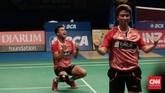 Tontowi/Liliyana juga berhasil meraih juara Indonesia Terbuka, turnamen yang sebelumnya sulit mereka menangkan. Tontowi/Liliyana bahkan dua kali memenangkan Indonesia Terbuka pada 2017 dan 2018. (CNN Indonesia/Andry Novelino)