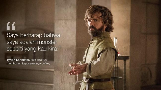 Tyrion Lannister, saat dituduh membunuh keponakannya Joffrey. (Dok. HBO)