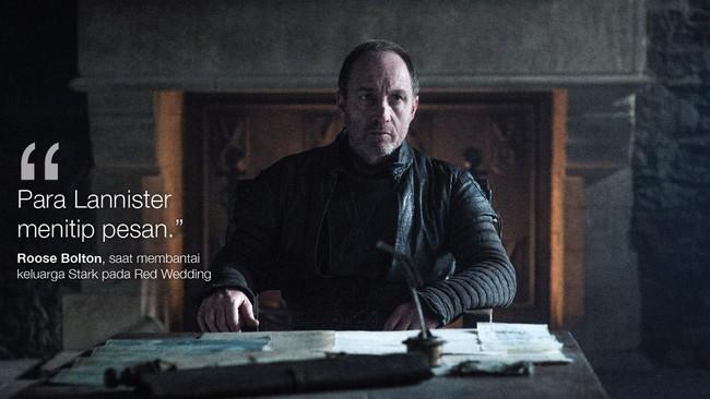Roose Bolton, saat membantai keluarga Stark pada Red Wedding (Dok. HBO)