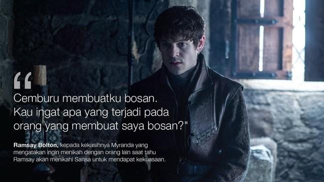 <p>Ramsay Bolton kepada kekasihnya Myranda yang mengatakan ingin menikah dengan orang lain saat tahu Ramsay akan menikahi Sansa untuk mendapat kekuasaan. (Dok. HBO)</p>