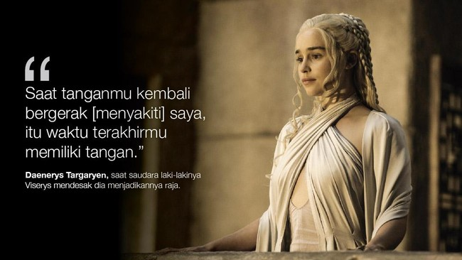 <p>Daenerys Targaryen, saat saudara laki-lakinya Viserys mendesak dia menjadikannya raja. (Dok. HBO)</p>