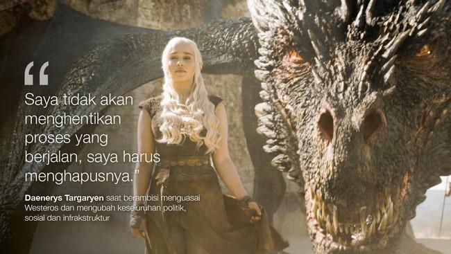 Daenerys Targaryen saat berambisi menguasai Westeros dan mengubah keseluruhan politik, sosial dan infrakstruktur. (Dok. HBO)
