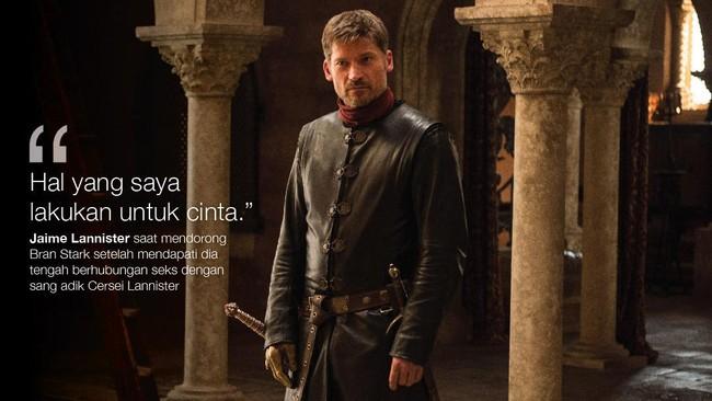 <p>Jaime Lannister saat mendorong Bran Stark setelah mendapati dia tengah berhubungan seks dengan sang adik Cersei Lannister. (Dok. HBO)</p>