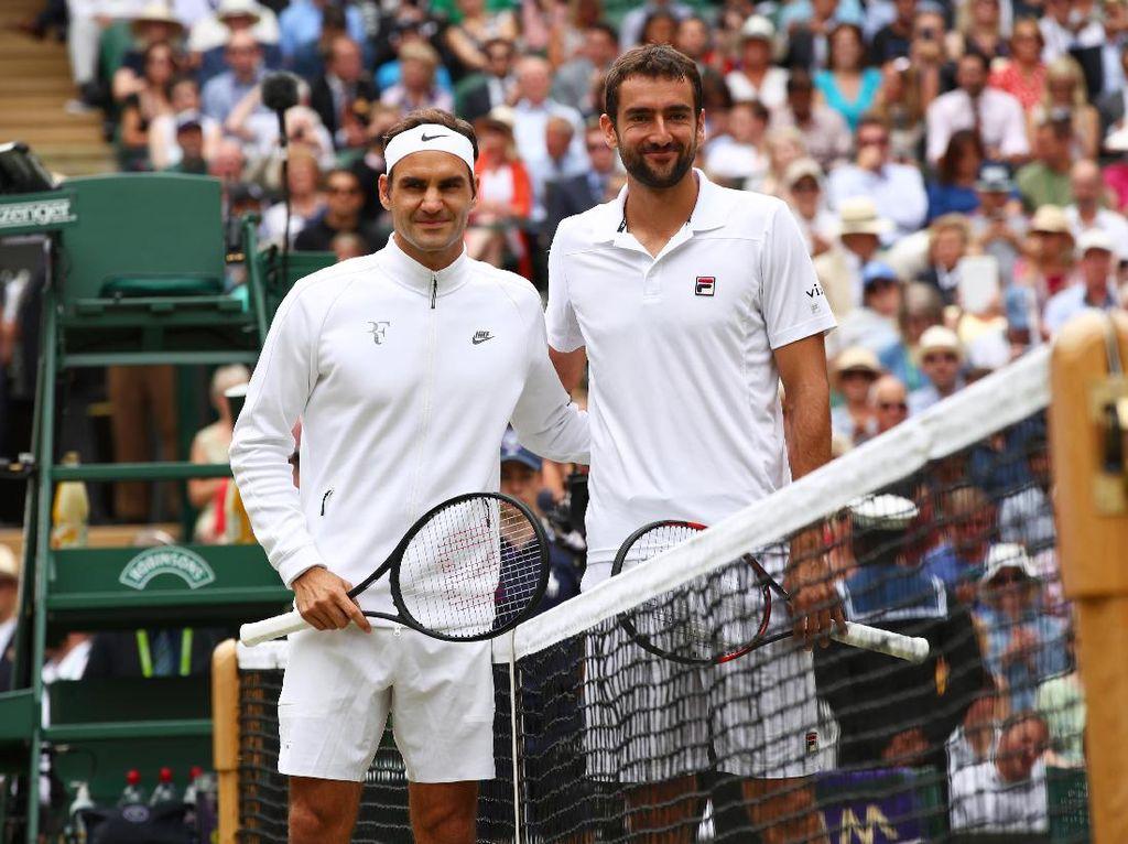 Federer menghadapi Marin Cilic di final Wimbledon, Minggu (16/7/2017) malam WIB. Bagi Federer, itu adalah finalnya yang ke-11 di Wimbledon. Foto: Clive Brunskill/Getty Images