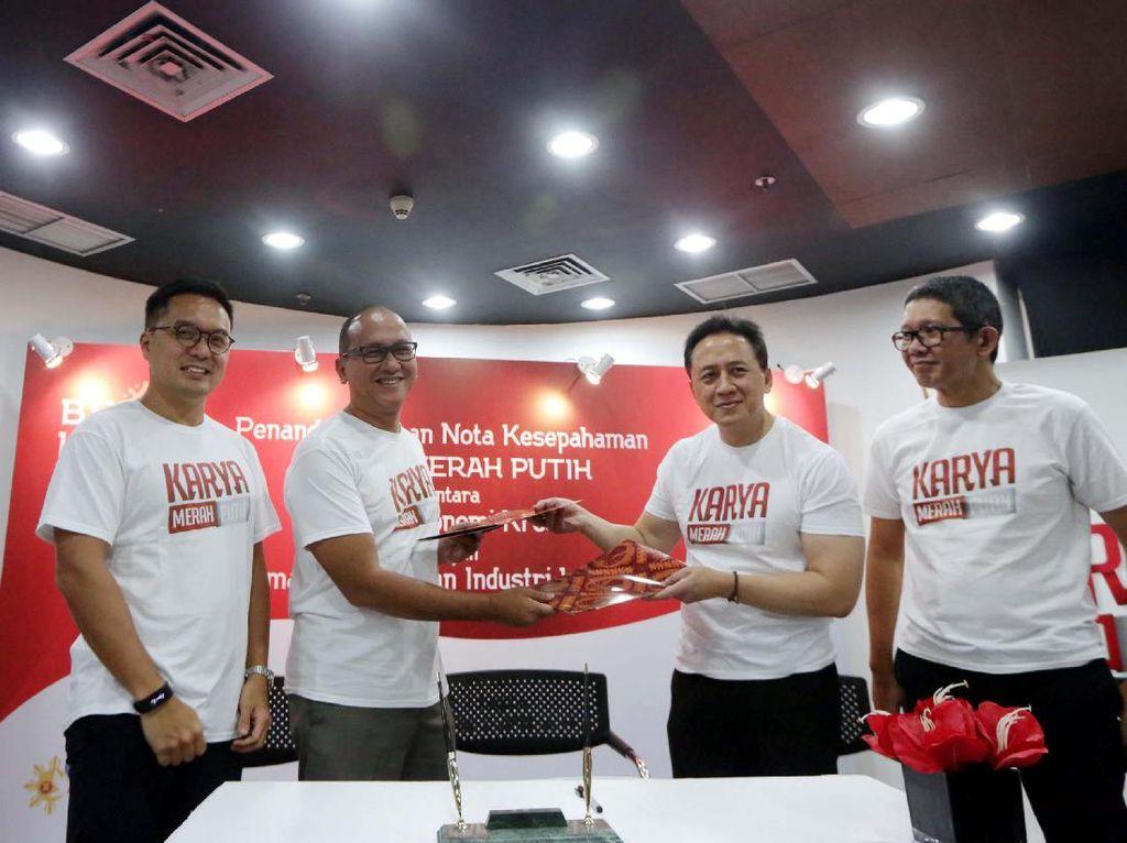 Penandatanganan kerja sama dilakukan oleh Ketua Umum Kadin Indonesia Rosan Roeslani dan Kepala Badan Ekonomi Kreatif Triawan Munaf. Pool/Kadin.