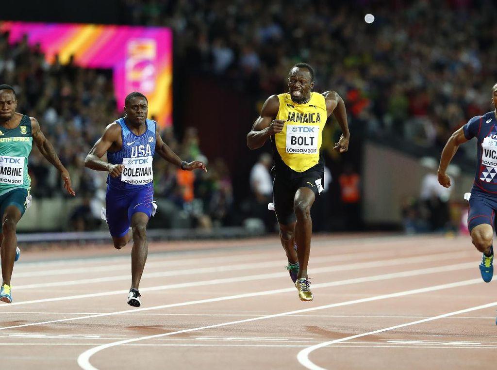 Usain Bolt tampil di nomor andalannya lari 100 meter. Di laga final dia bersaing dengan sejumlah pelari top termasuk Justin Gatlin dari Amerika Serikat (Foto: REUTERS/Lucy Nicholson)