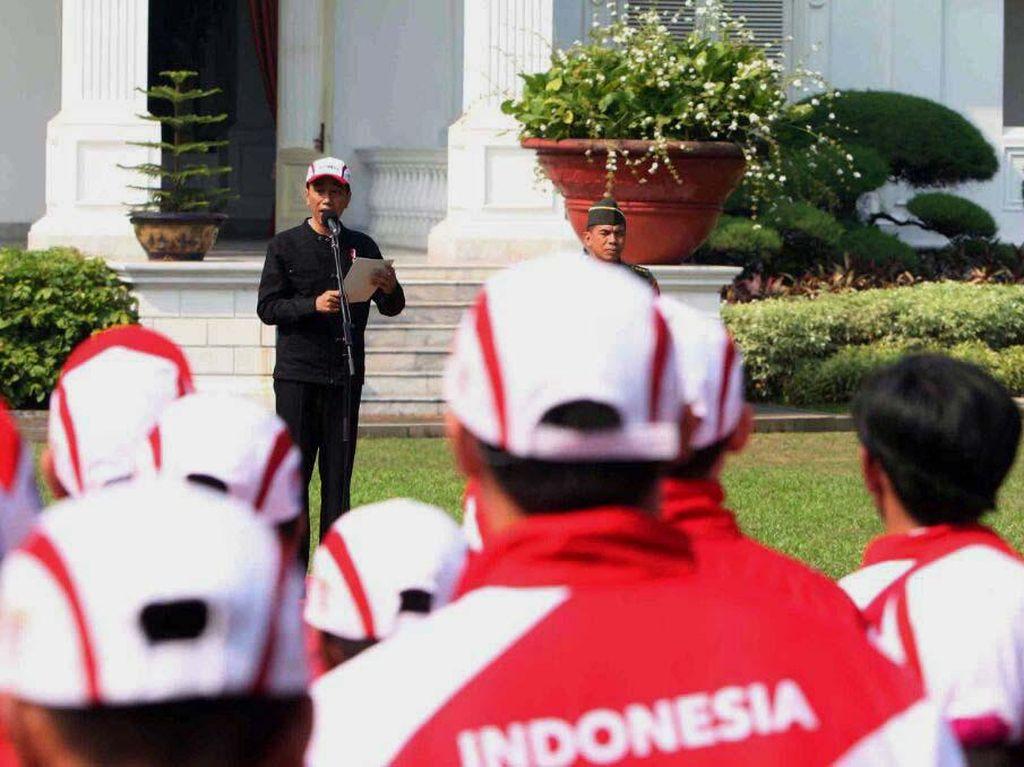 Jokowi ingin Indonesia menjadi juara umum pesta olahraga dua tahunan di Asia Tenggara itu. Pool/INASGOC.