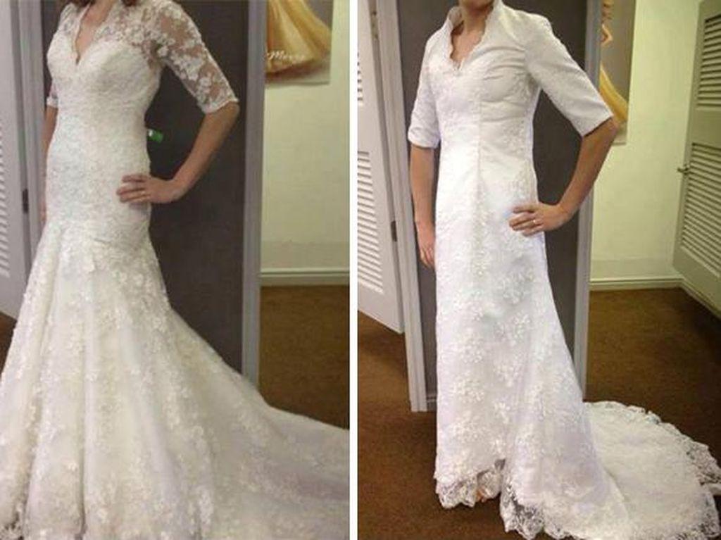 15 Foto Gaun Pernikahan di Iklan Vs Kenyataan, Buat Calon Pengantin Nangis